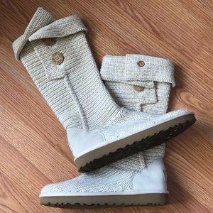 LN UGG Cardi Boots Ivory & Gold Knit Sz 10